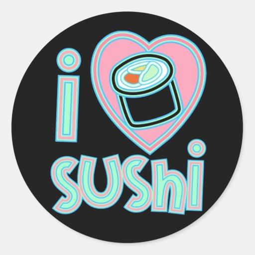 I love Sushi Round Stickers