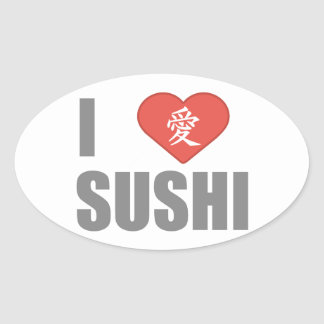 I Love Sushi Oval Stickers