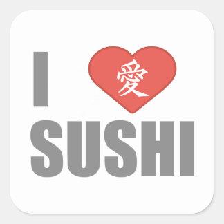 I Love Sushi Square Stickers