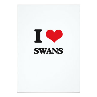 I love Swans 5x7 Paper Invitation Card
