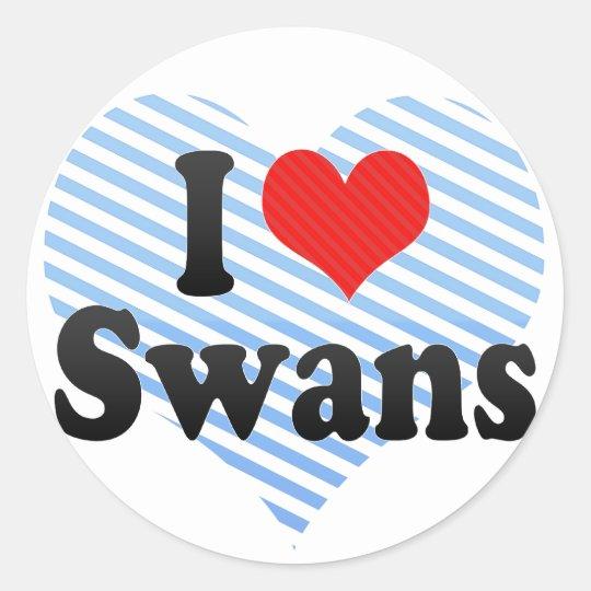I Love Swans Classic Round Sticker