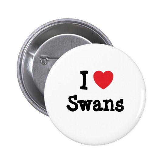 I love Swans heart custom personalized Button