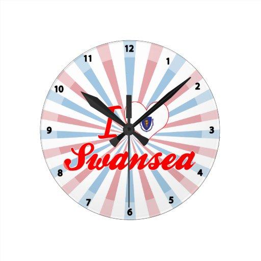 I Love Swansea, Massachusetts Wall Clocks