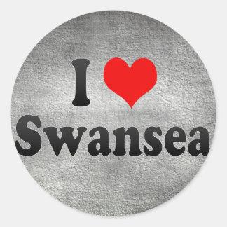 I Love Swansea United Kingdom Round Stickers