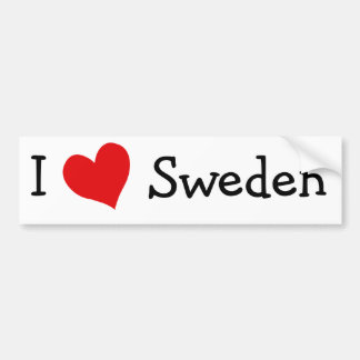 I Love Sweden Bumper Sticker