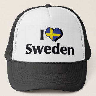I Love Sweden Flag Trucker Hat