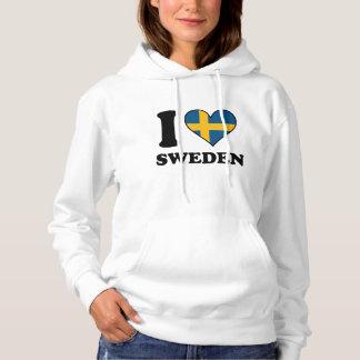 I Love Sweden Swedish Flag Heart Hoodie