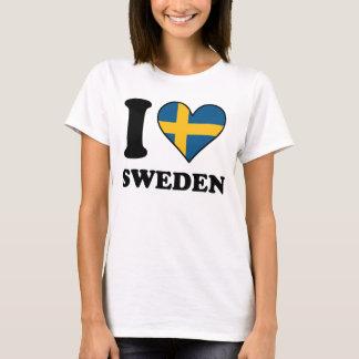 I Love Sweden Swedish Flag Heart T-Shirt