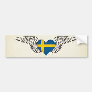 I Love Sweden -wings Car Bumper Sticker
