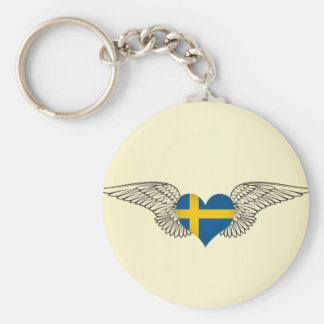 I Love Sweden -wings Basic Round Button Keychain