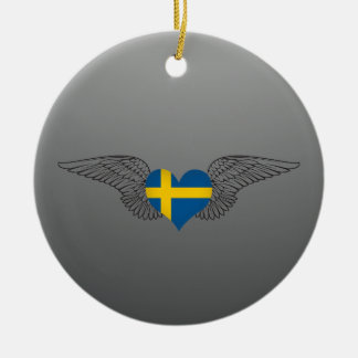 I Love Sweden -wings Double-Sided Ceramic Round Christmas Ornament