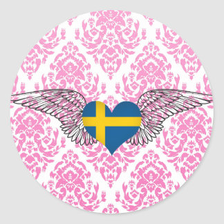 I Love Sweden -wings Round Sticker