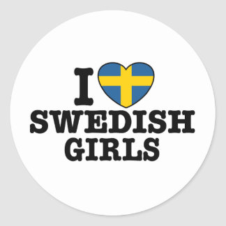 I Love Swedish Girls Classic Round Sticker