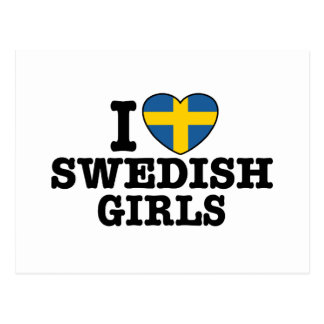 I Love Swedish Girls Postcard