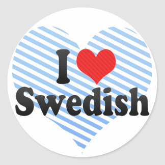 I Love Swedish Round Stickers