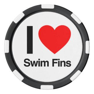 i love swim fins poker chips set