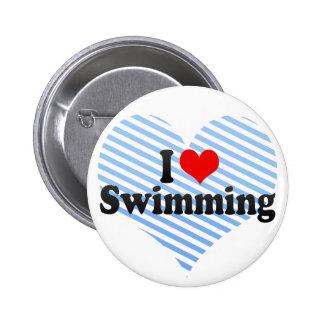 I Love Swimming 2 Inch Round Button