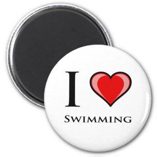 I Love Swimming 2 Inch Round Magnet