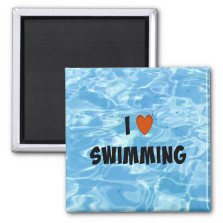 I Love Swimming 2 Inch Square Magnet