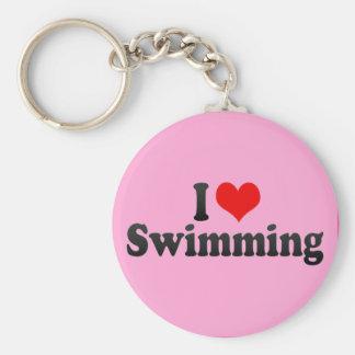 I Love Swimming Basic Round Button Keychain