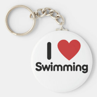 I love Swimming Basic Round Button Keychain