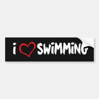 I Love Swimming Car Bumper Sticker