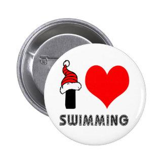 I Love Swimming Design Pin