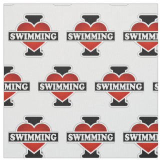 I Love Swimming Fabric