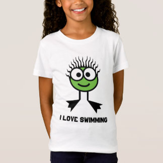 I Love Swimming - Green Swim Character T-Shirt