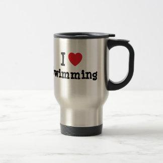 I love Swimming heart custom personalized Coffee Mugs