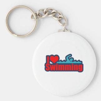 I Love Swimming Keychain