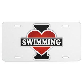 I Love Swimming License Plate