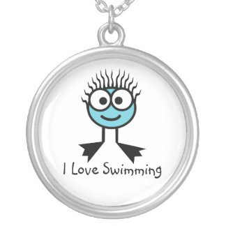 I Love Swimming - Pale Blue Swim Character Necklac Round Pendant Necklace