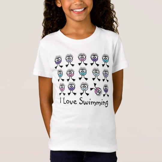 I Love Swimming - Pastel Swim Characters T-Shirt
