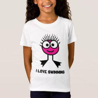 I Love Swimming - Pink Swim Character T-Shirt