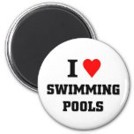 I love Swimming Pools 2 Inch Round Magnet