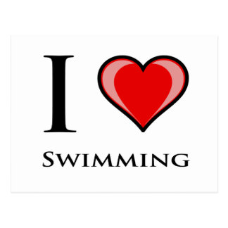 I Love Swimming Postcard