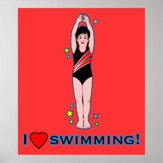 I Love Swimming Poster