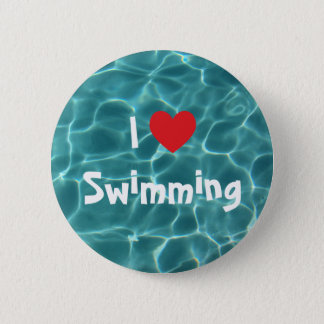 I Love Swimming Red Heart with Aqua Pool Water Button