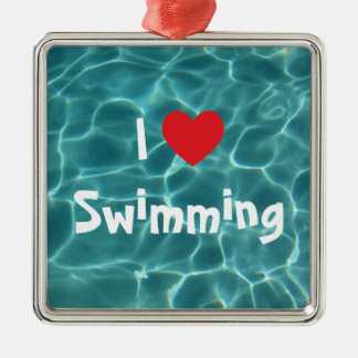 I Love Swimming Red Heart with Aqua Pool Water Metal Ornament