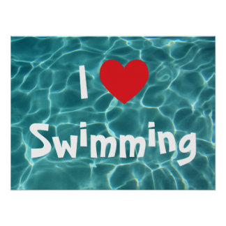 I Love Swimming Red Heart with Aqua Pool Water Poster