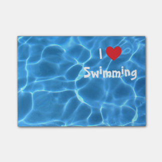 I Love Swimming Red Heart with Blue Pool Water Post-it Notes