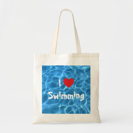 I Love Swimming Red Heart with Blue Pool Water Tote Bag