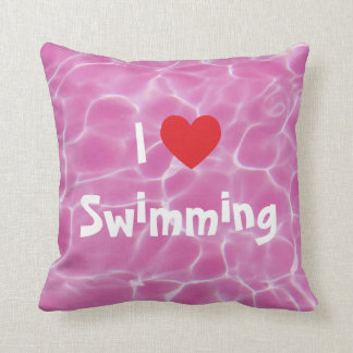 I Love Swimming Red Heart with Pink Pool Water Throw Pillow
