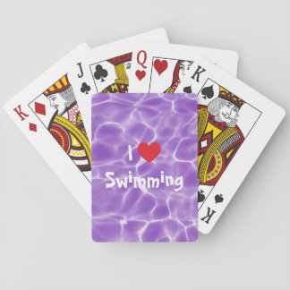 I Love Swimming Red Heart with Purple Pool Water Playing Cards