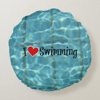 I Love Swimming Round Pillow