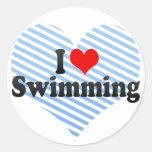 I Love Swimming Round Stickers