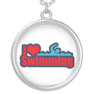I Love Swimming Silver Plated Necklace