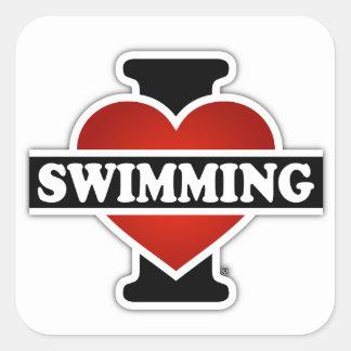 I Love Swimming Square Sticker