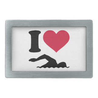 I love swimming swimmer rectangular belt buckle
